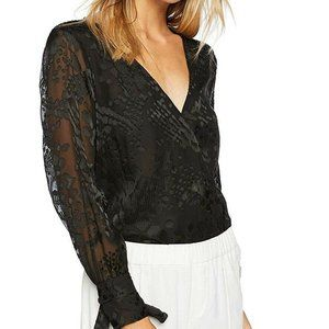 NWT CUPCAKES & CASHMERE Black Sheer Body Suit, S!